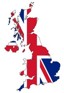 Map of UK with flag